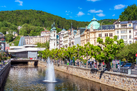 KARLOVY VARY, CZECH REPUBLIC - MAY 26, 2017: Historic city center with river of the spa town Karlovy Vary.