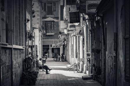 NICOSIA, CYPRUS - MARCH 24, 2017: View through Sokratous street in the old town of Nicosia