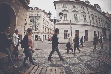 PRAGUE, CZECH REPUBLIC - MAY 25, 2017: People walking on the Celetna street.