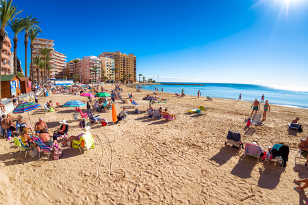 TORREVIEJA , SPAIN - NOVEMBER 13, 2017: Coastline of Playa del Cura. Editorial