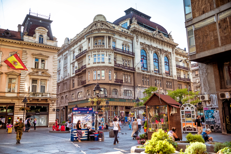 BELGRADE, SERBIA - SEPTEMBER 23, 2015: Knez Mihailova street or Prince Michael street, a famous tourists attraction of Belgrade.