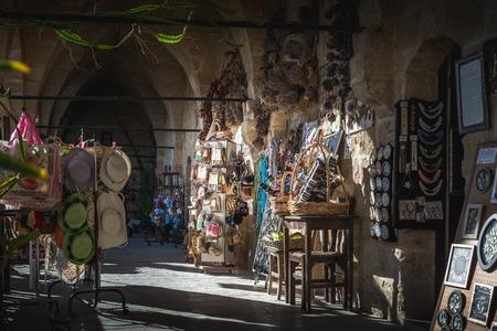 NICOSIA, CYPRUS - NOVEMBER 03, 2015: Handicraft souvenirs at Buyuk Han caravansarai.