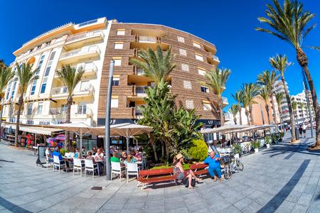 TORREVIEJA, SPAIN - NOVEMBER 13, 2017: Famous embankment promenade Paseo Juan Aparicio.
