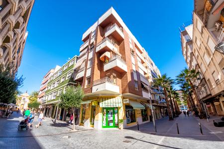 TORREVIEJA, SPAIN - NOVEMBER 10, 2017: Old town pedestrian street Editorial