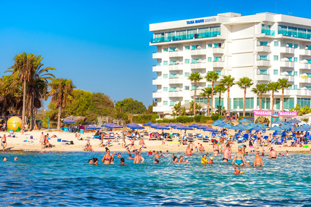 AYIA NAPA, CYPRUS - AUGUST 18, 2016: View of Vathia Gonia Beach (Sandy bay). Editorial