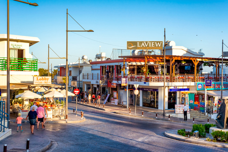 AYIA NAPA, CYPRUS - AUGUST 18, 2016: View of town centre. Editorial