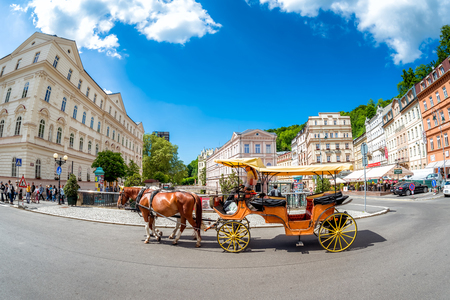 KARLOVY VARY, CZECH REPUBLIC - MAY 26, 2017: Carriage ride in in the city of Karlovy Vary. Czech Republic. Editorial