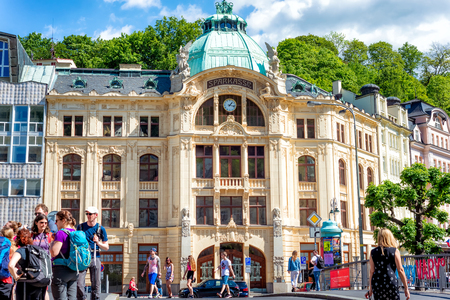 KARLOVY VARY, CZECH REPUBLIC - MAY 26, 2017: Bank Sparkasse at Promenade in Karlovy Vary.