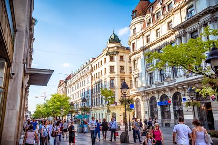 BELGRADE, SERBIA - SEPTEMBER 23, 2015: Pedestrians walking along Knez Mihailova street in Belgrade.