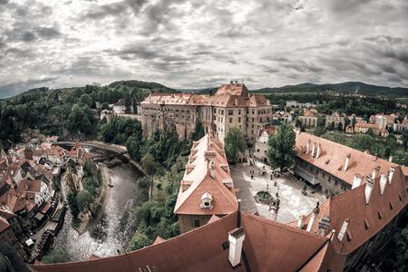 Panoramic view of the famous Cesky Krumlov Castle. Czech Republic.