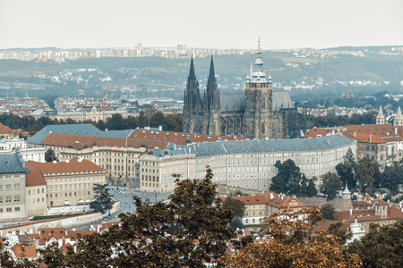Aerial view on Prague Castle and Saint Vitus Cathedral. Prague, Czech Republic. Editorial