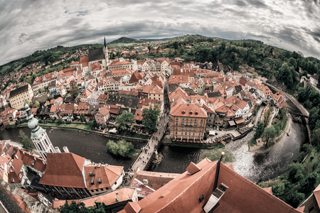 Panoramic view of the historic city of Cesky Krumlov with famous Cesky Krumlov Castle. Cesky Krumlov, Czech Republic.