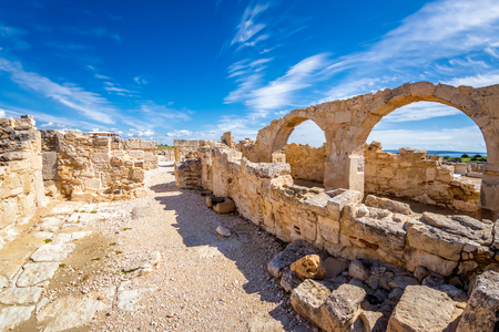 Remains of early Christian Episcopal basilica, Archaeological Site of Kourion. Limassol District, Cyprus. Stock Photo