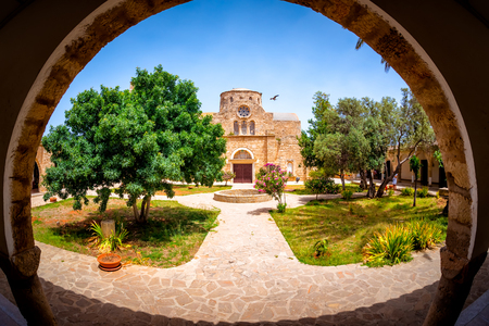 Saint Barnabas Monastery courtyard. Famagusta District, Cyprus. Stock Photo
