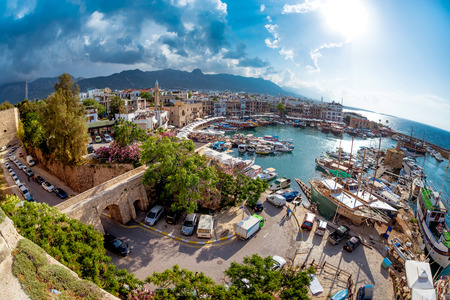 Historic harbour and the old town in Kyrenia (Girne) on the Northern Coast of Cyprus.