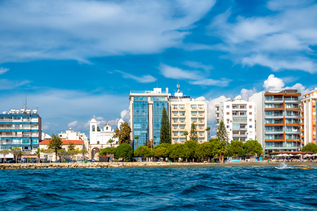 Coastal residential buildings. Limassol, Cyprus. Stock Photo