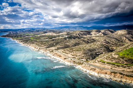 Aerial view of White & Rocky Beach. Monagroulli village area. Limassol District, Cyprus.