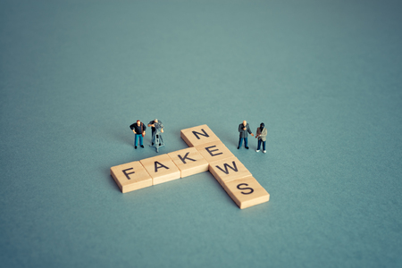 Group of journalists. Fake news concept