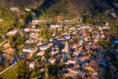 View of Gourri village at the foothill of the Machaira mountain. Nicosia District, Cyprus Stok Fotoğraf