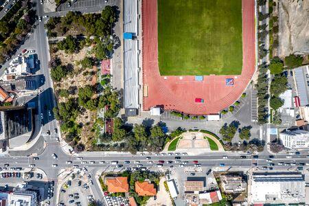 Overhead view of Arch. Makarios III avenue and Lanitio stadium. Limassol, Cyprus