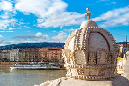 King Stephen's crown on the Margaret Bridge. Budapest, Hungary