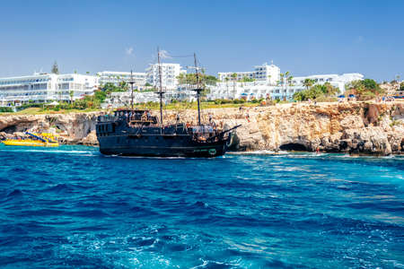 AYIA NAPA, CYPRUS - August 10, 2019: The Black Pearl, a tourist day-cruise ship Editorial