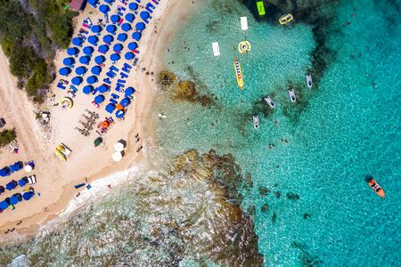 Overhead view of Glyki Nero Beach. Ayia Napa, Cyprus