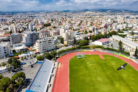 Elevated view at Lanition Stadium. Limassol, Cyprus