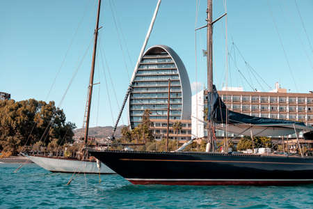 Sailing yacht anchored in Limassol, Cyprus