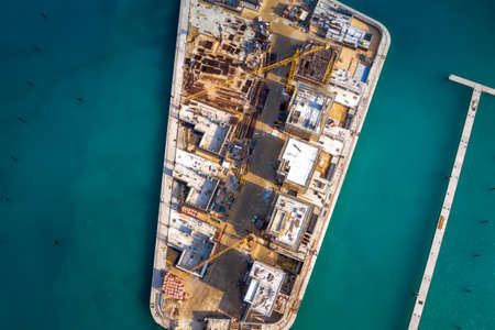 Top view of marina construction site, Ayia Napa, Cyprus Standard-Bild