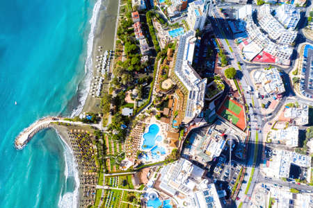 Aerial drone view of Limassol cityscape. Cyprus