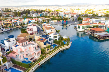 Aerial view above residential houses of Limassol Marina. Cyprus