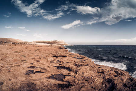 Rocky shore of Cape Greco National Forest Park. Famagusta Distict, Cyprus