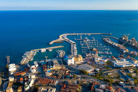 Aerial view of Limassol marina, pre-sunset