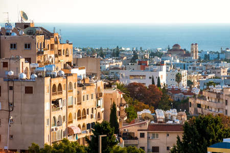 Paphos cityscape over residential neighborhood. Cyprus