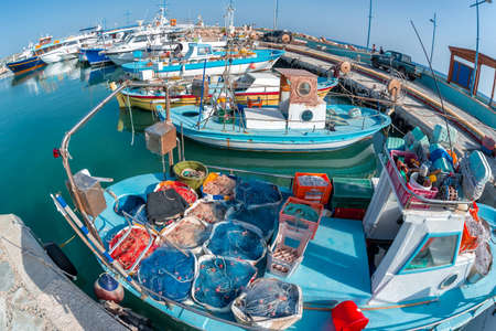 Traditional fishing boats at Ayia Anpa Harbor. Famagusta District, Cyprus