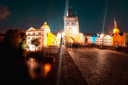 Long exposure shot of Charles Bridge in Prague at the blue hour