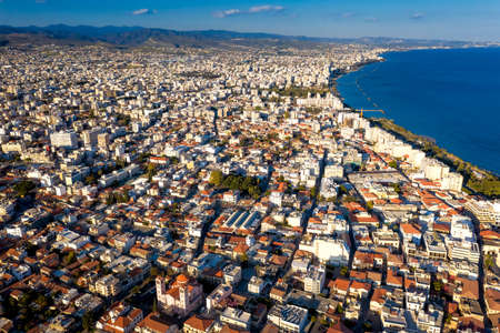 Aerial view of Limassol, Cyprus towards east
