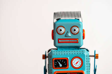 Old vintage tin robot portrait