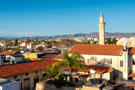 Paphos old town and Moutallos Mosque minaret. Cyprus