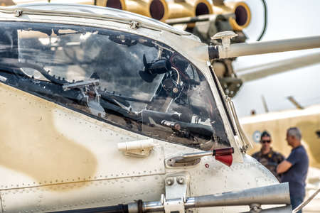 Side view military attack helicopter cockpit Standard-Bild