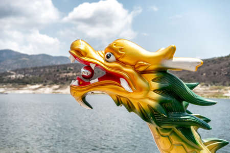 Head of a dragon on the bow of a dragon boat