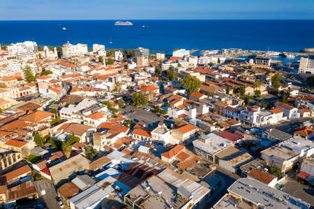 Aerial view of Limassol, Cyprus towards the sea Standard-Bild