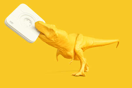 T-rex with instant camera. Technology concept. 3D rendering Standard-Bild