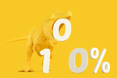 T-rex with '100%' sign. 3D rendering Standard-Bild