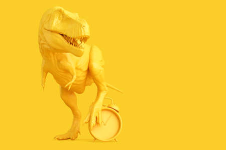 Time to wake up. T-rex with alarm clock. 3D illustration