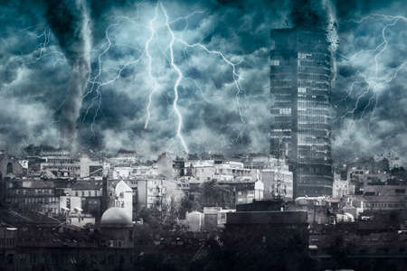 Apocalyptic cityscape with tornado, heavy rain and lighting. Digital illustration