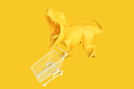 T-rex with shopping cart. Retail shopping concept. 3D rendering