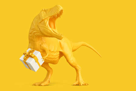 T-rex with Gift Box. 3D rendering