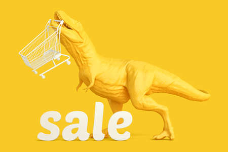 T-rex with shopping cart and 'sale' sign. Retail shopping concept. 3D rendering Standard-Bild